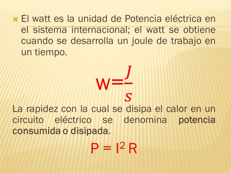El watt es la unidad de Potencia eléctrica en el sistema internacional; el watt se obtiene cuando se desarrolla un joule de trabajo en un tiempo.