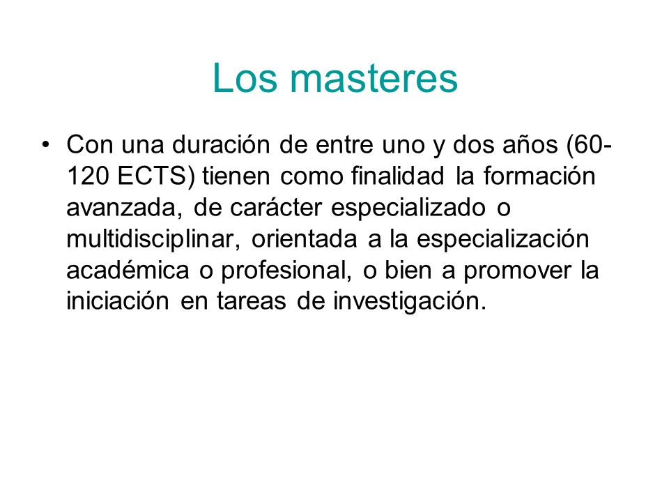 Los masteres
