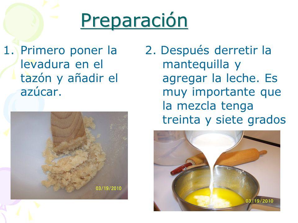 Preparación Primero poner la levadura en el tazón y añadir el azúcar.
