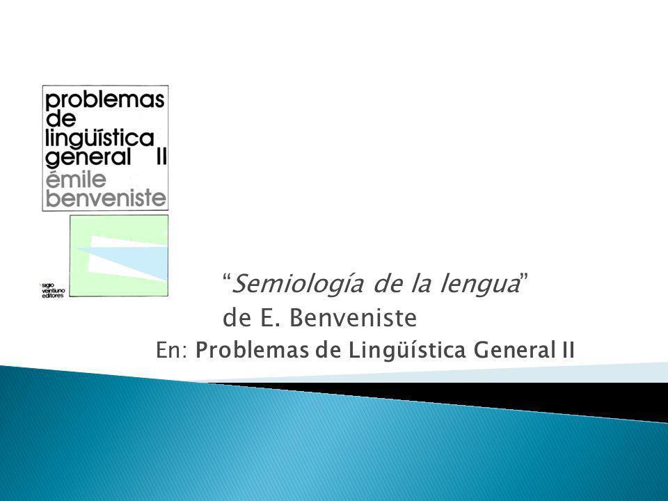 Semiología de la lengua de E. Benveniste