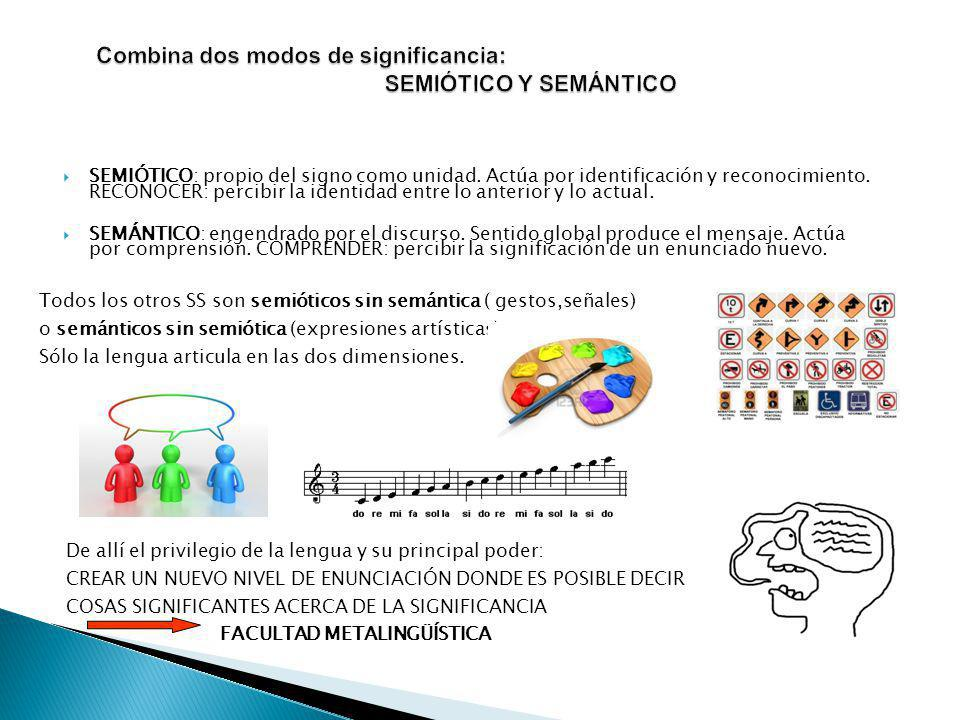 Combina dos modos de significancia: SEMIÓTICO Y SEMÁNTICO