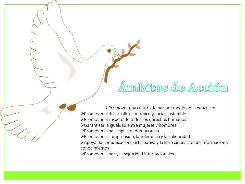 Ámbitos de Acción Promover una cultura de paz por medio de la educación. Promover el desarrollo económico y social sostenible.