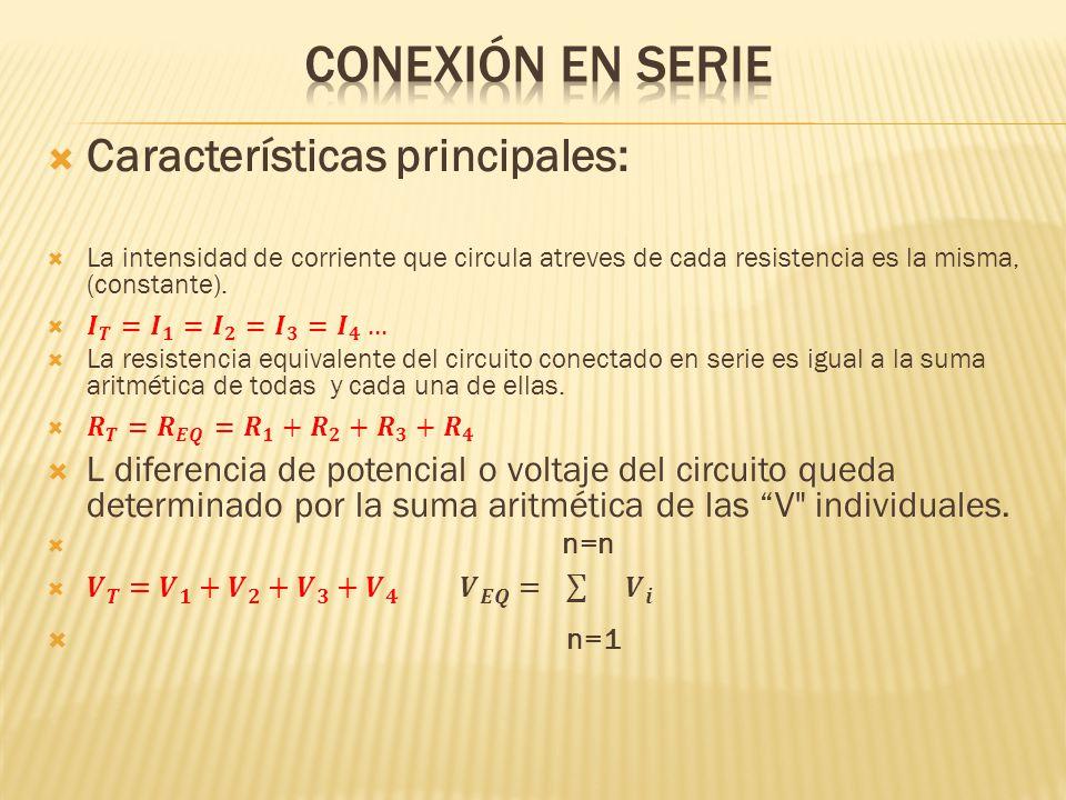 Conexión en serie Características principales: