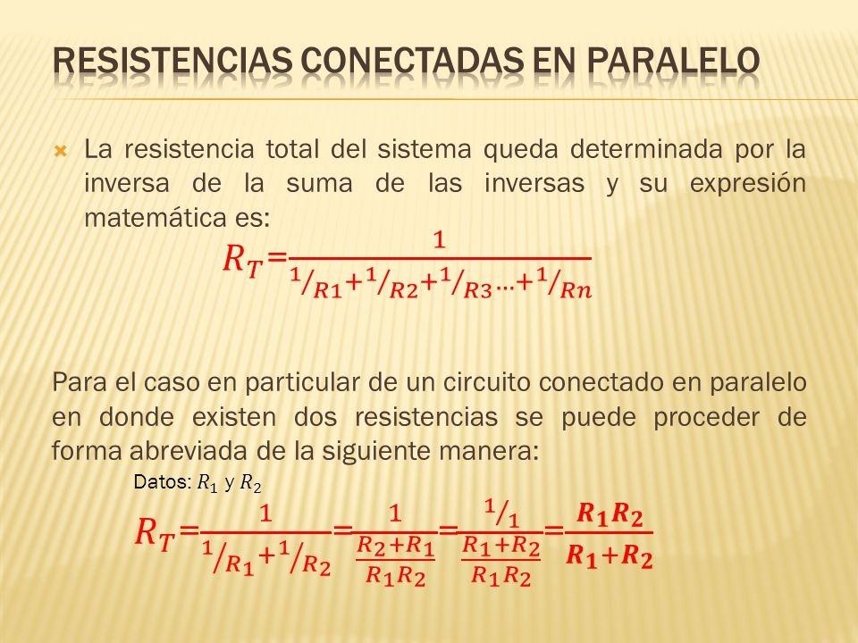 RESISTENCIAS CONECTADAS EN PARALELO