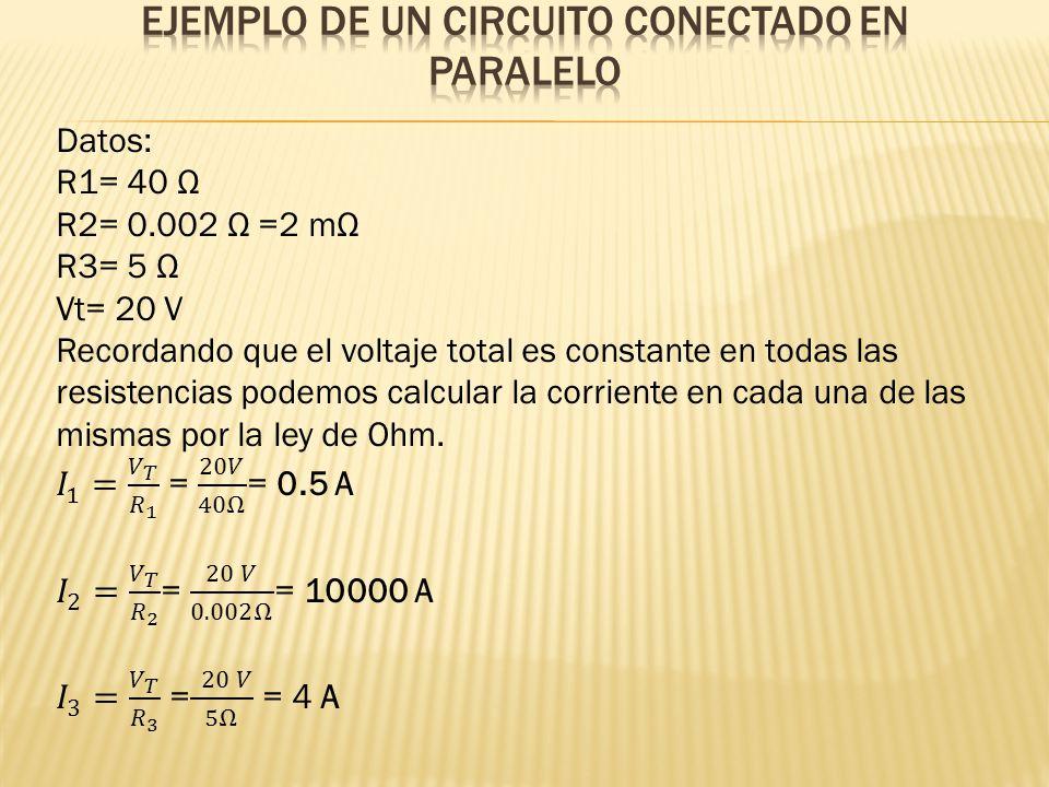Ejemplo de un circuito conectado en paralelo