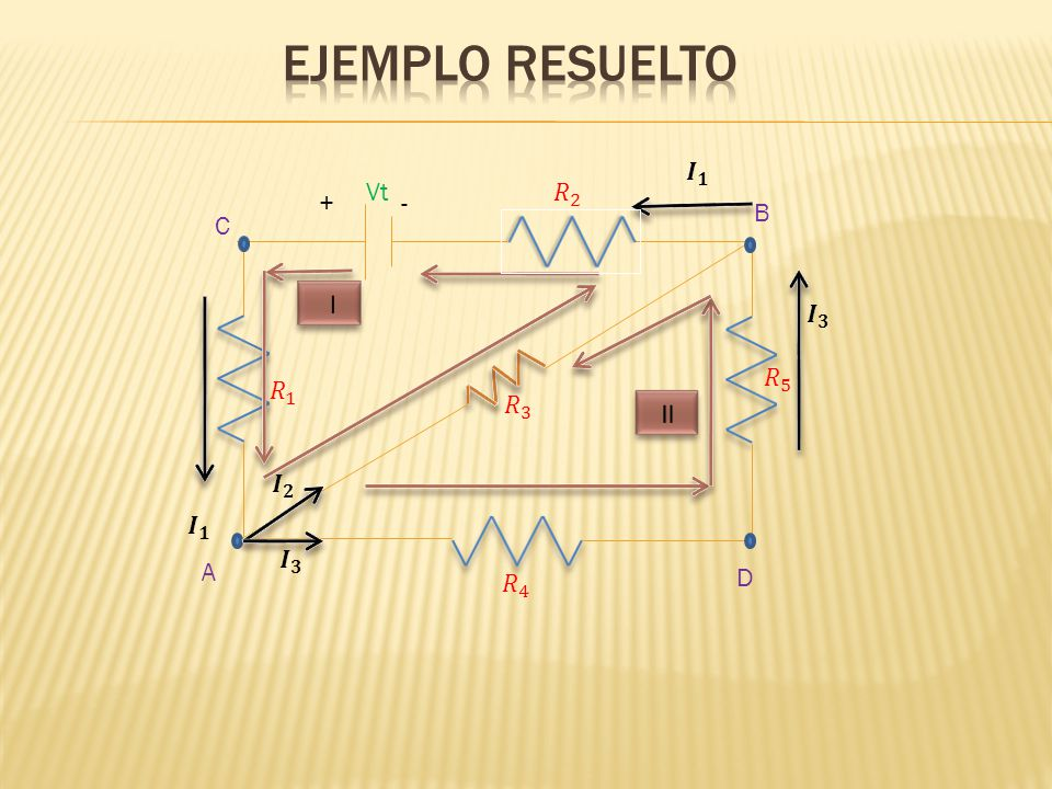 Ejemplo resuelto 𝑰 𝟑 𝑰 𝟏 𝑅 2 𝑅 5 𝑅 4 𝑅 3 Vt - + II I 𝑰 𝟐 C B A D 𝑅 1