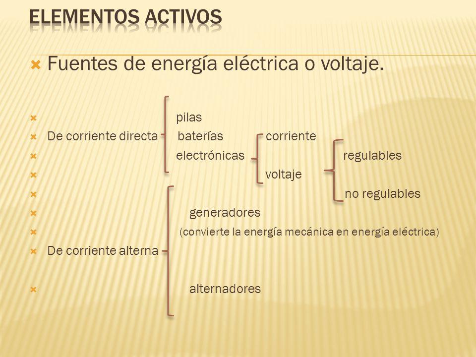 Fuentes de energía eléctrica o voltaje.