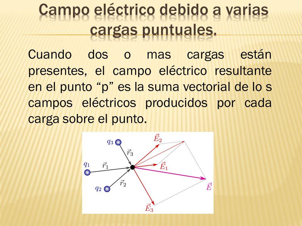 Campo eléctrico debido a varias cargas puntuales.