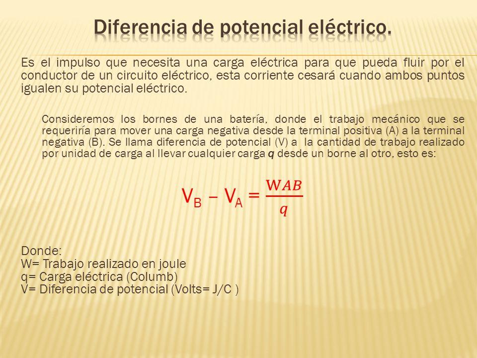 Diferencia de potencial eléctrico.