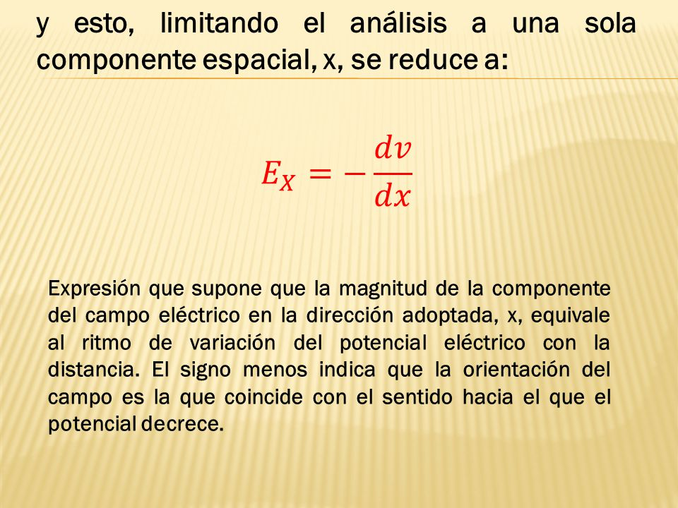 y esto, limitando el análisis a una sola componente espacial, x, se reduce a: