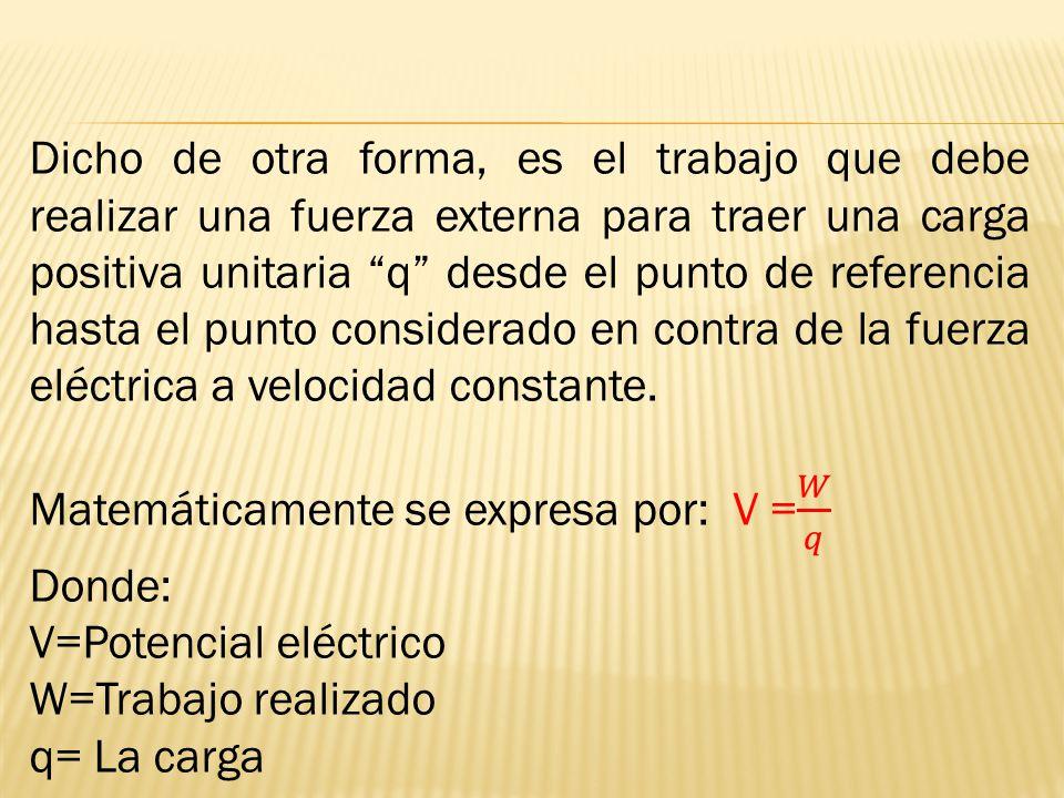 Dicho de otra forma, es el trabajo que debe realizar una fuerza externa para traer una carga positiva unitaria q desde el punto de referencia hasta el punto considerado en contra de la fuerza eléctrica a velocidad constante.