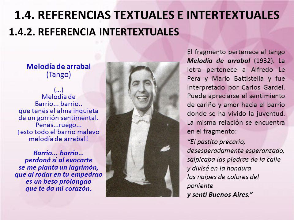 1.4. REFERENCIAS TEXTUALES E INTERTEXTUALES