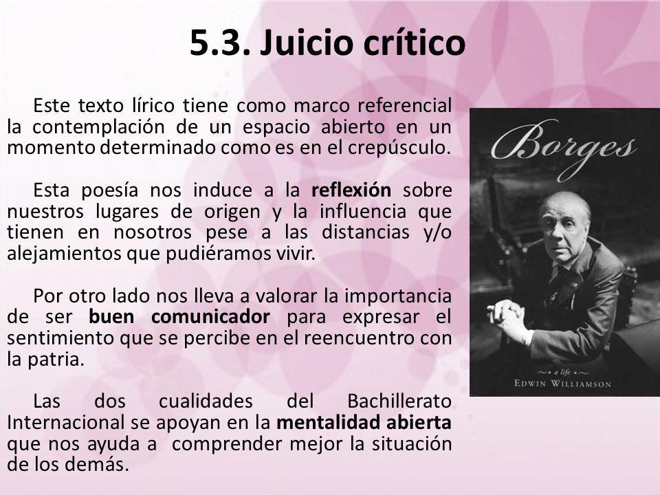 5.3. Juicio crítico