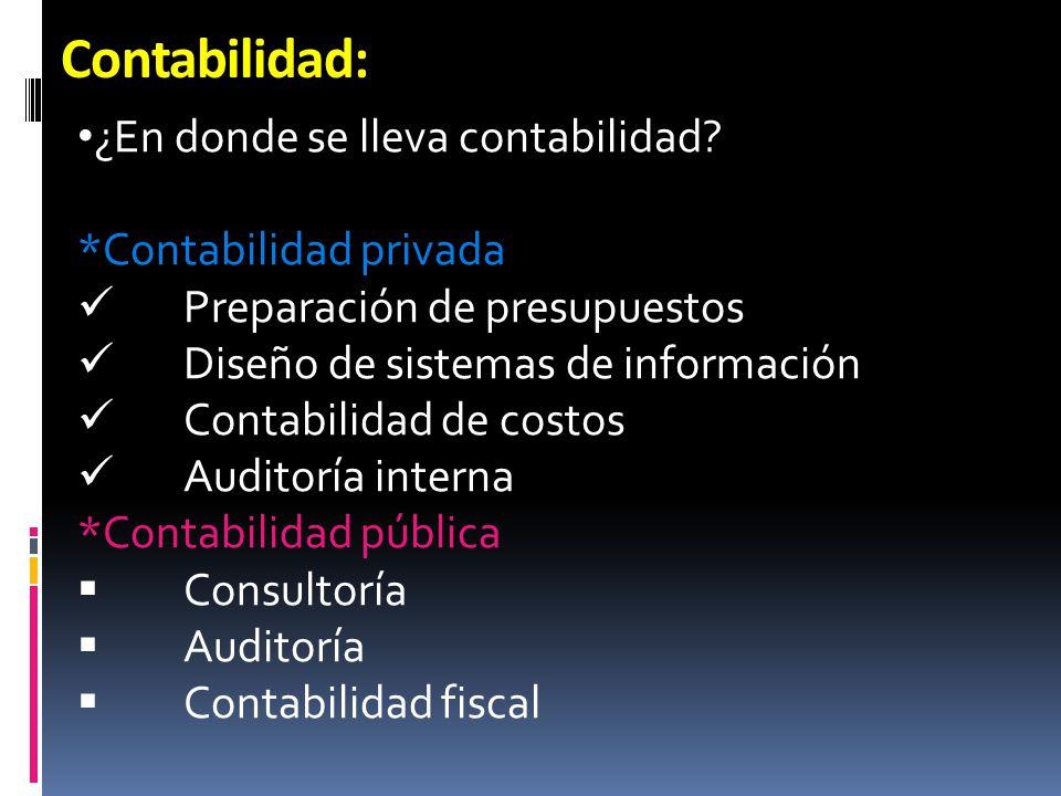 Contabilidad: ¿En donde se lleva contabilidad *Contabilidad privada