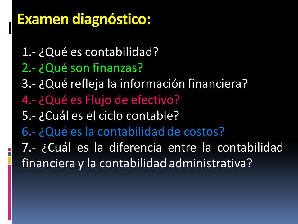Examen diagnóstico: 1.- ¿Qué es contabilidad 2.- ¿Qué son finanzas
