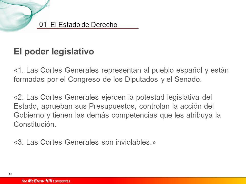 01 El poder legislativo. «1. Las Cortes Generales representan al pueblo español y están formadas por el Congreso de los Diputados y el Senado.