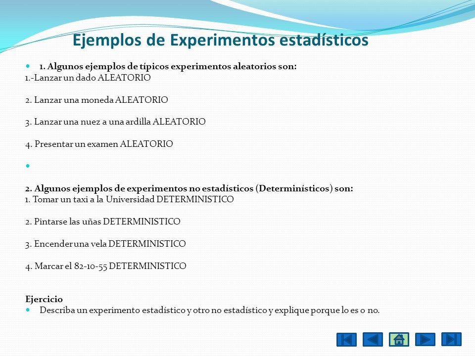 Ejemplos de Experimentos estadísticos