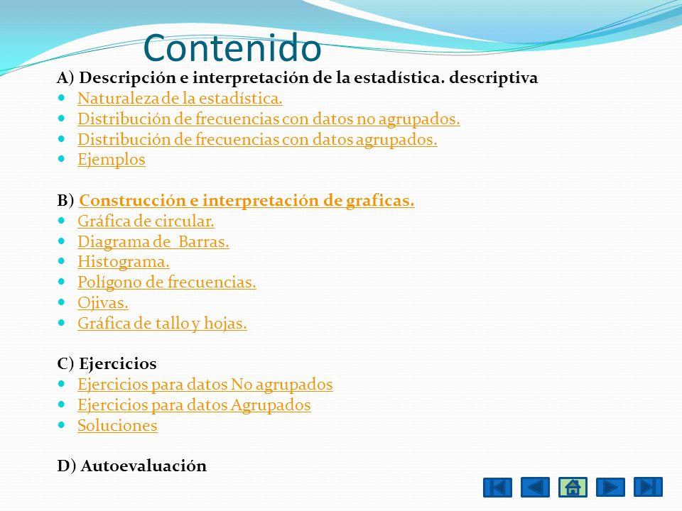Contenido A) Descripción e interpretación de la estadística. descriptiva. Naturaleza de la estadística.