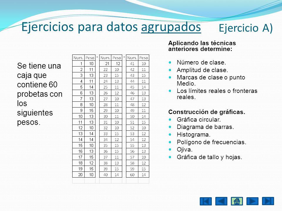 Ejercicios para datos agrupados