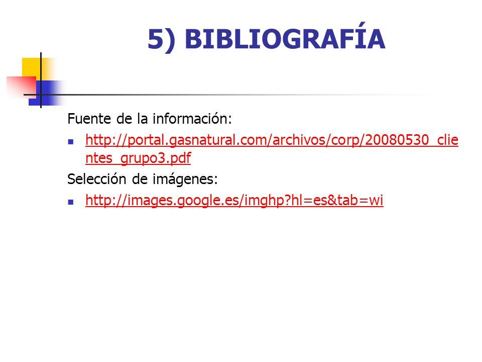 5) BIBLIOGRAFÍA Fuente de la información: