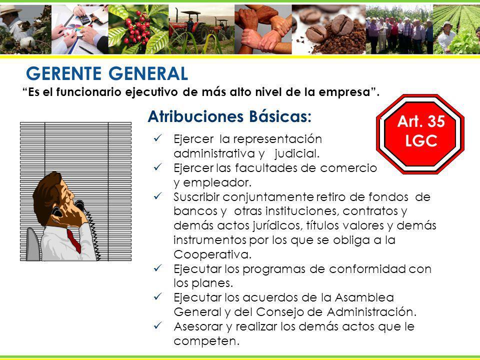GERENTE GENERAL Atribuciones Básicas: Art. 35 LGC