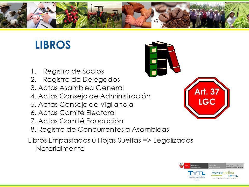 LIBROS Art. 37 LGC Registro de Socios Registro de Delegados