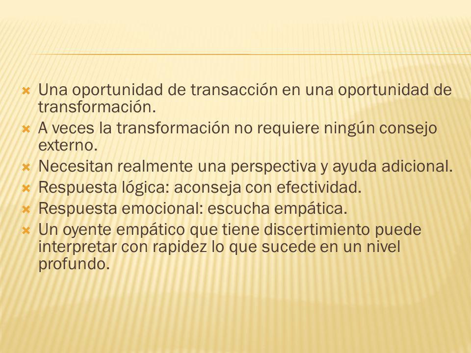 Una oportunidad de transacción en una oportunidad de transformación.