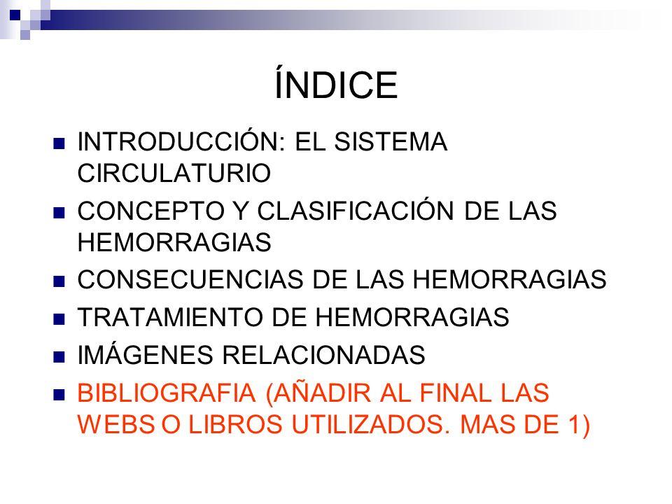 ÍNDICE INTRODUCCIÓN: EL SISTEMA CIRCULATURIO