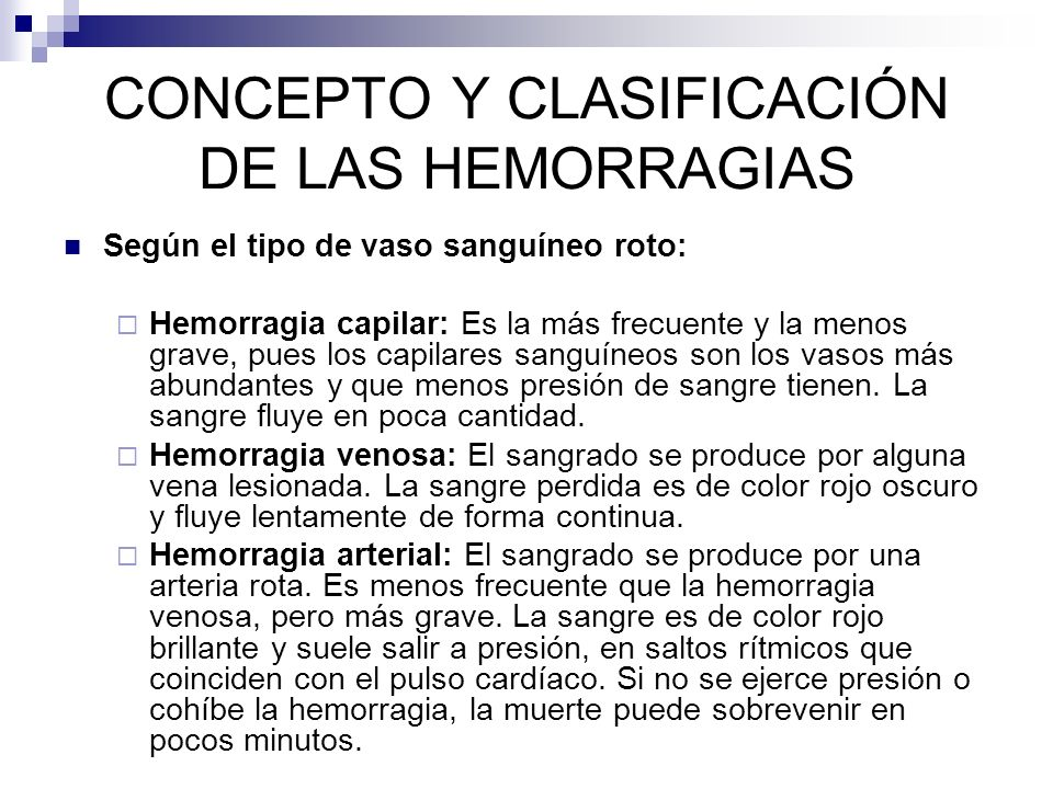 CONCEPTO Y CLASIFICACIÓN DE LAS HEMORRAGIAS