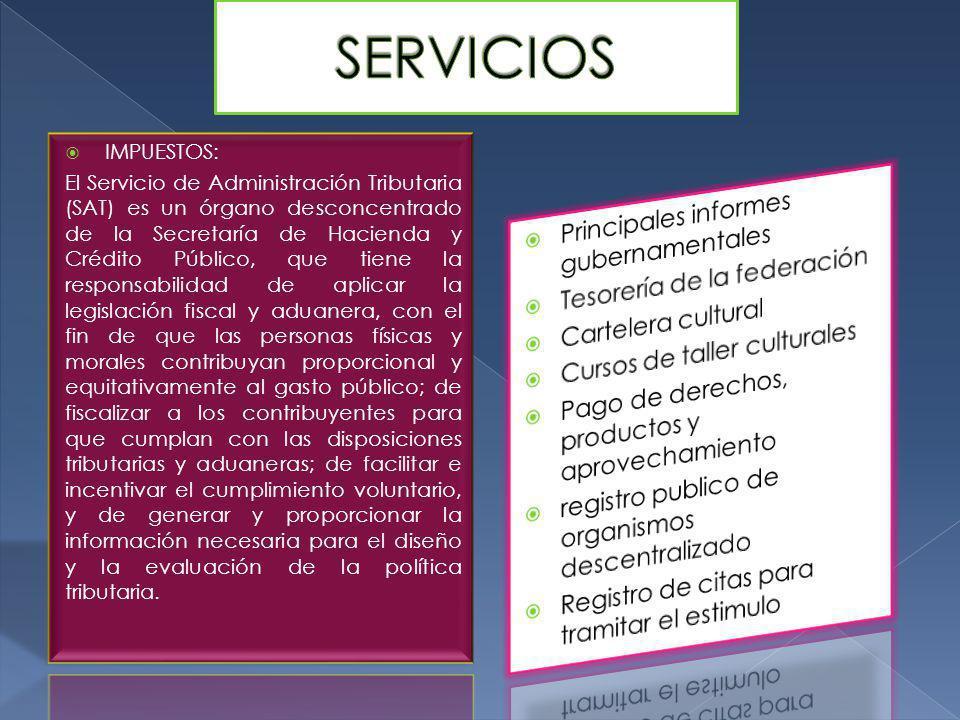 SERVICIOS Principales informes gubernamentales