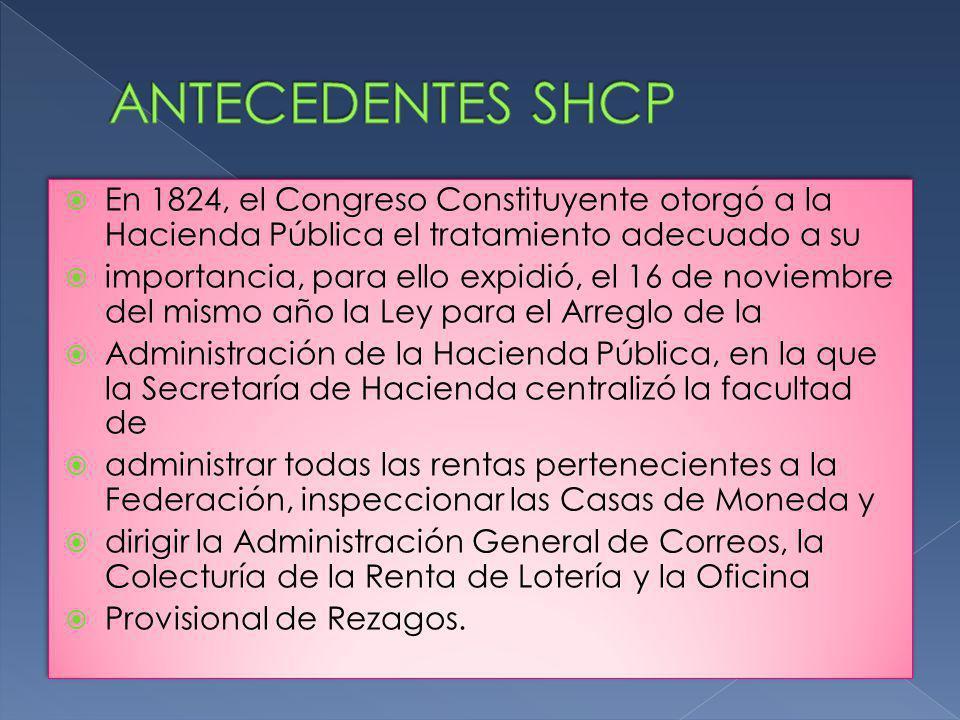 ANTECEDENTES SHCP En 1824, el Congreso Constituyente otorgó a la Hacienda Pública el tratamiento adecuado a su.