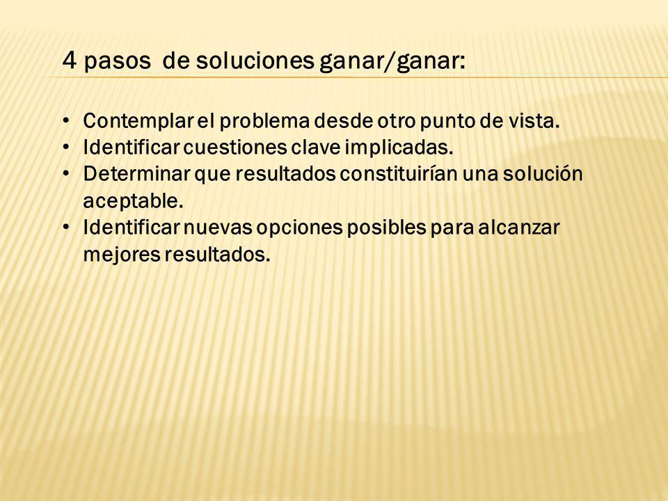 4 pasos de soluciones ganar/ganar: