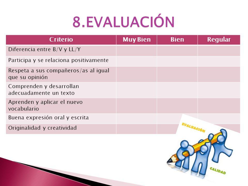 8.EVALUACIÓN Criterio Muy Bien Bien Regular