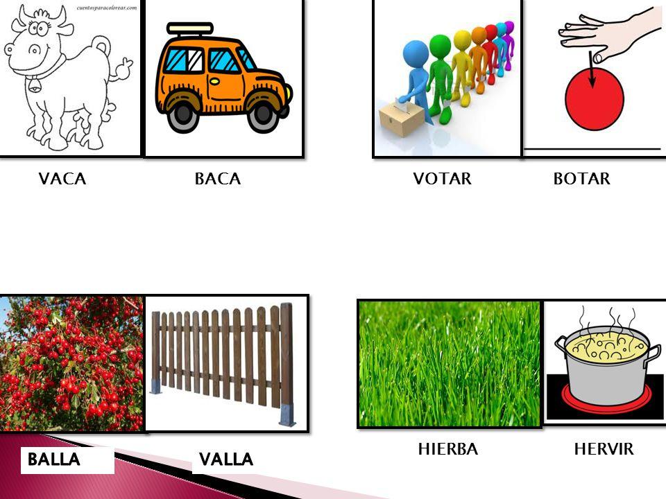VACA BACA VOTAR BOTAR HIERBA HERVIR BALLA VALLA