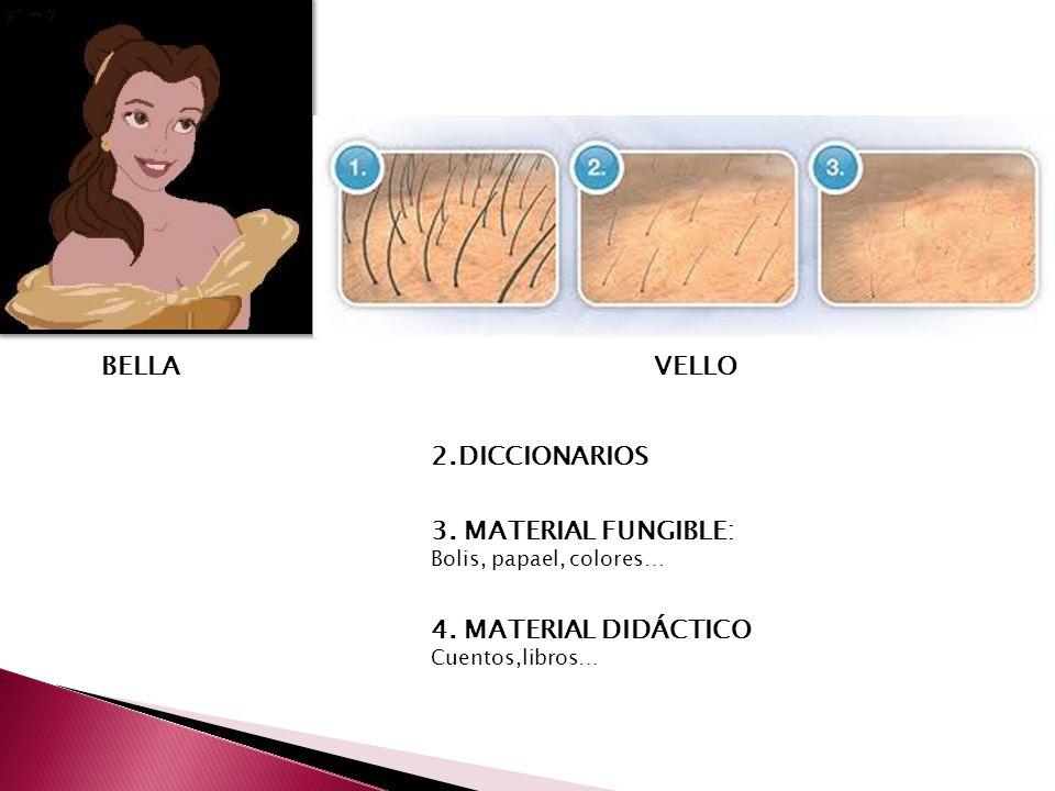 BELLA VELLO. 2.DICCIONARIOS. 3. MATERIAL FUNGIBLE: Bolis, papael, colores… 4.