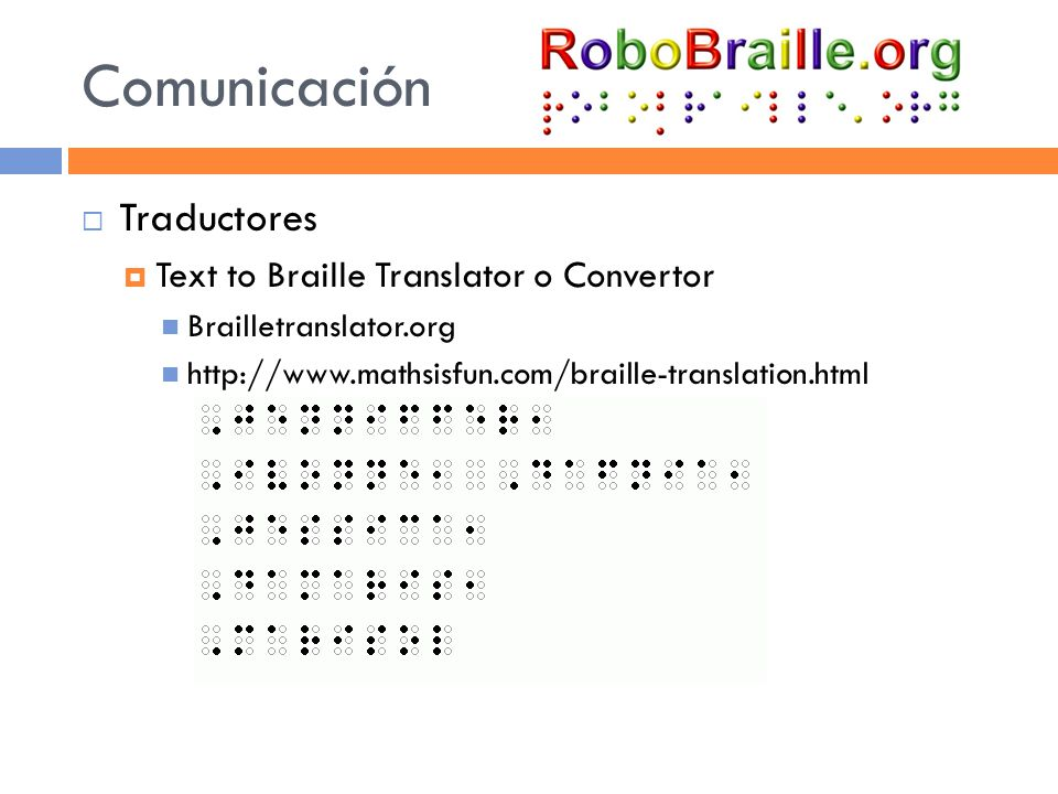Comunicación Traductores Text to Braille Translator o Convertor