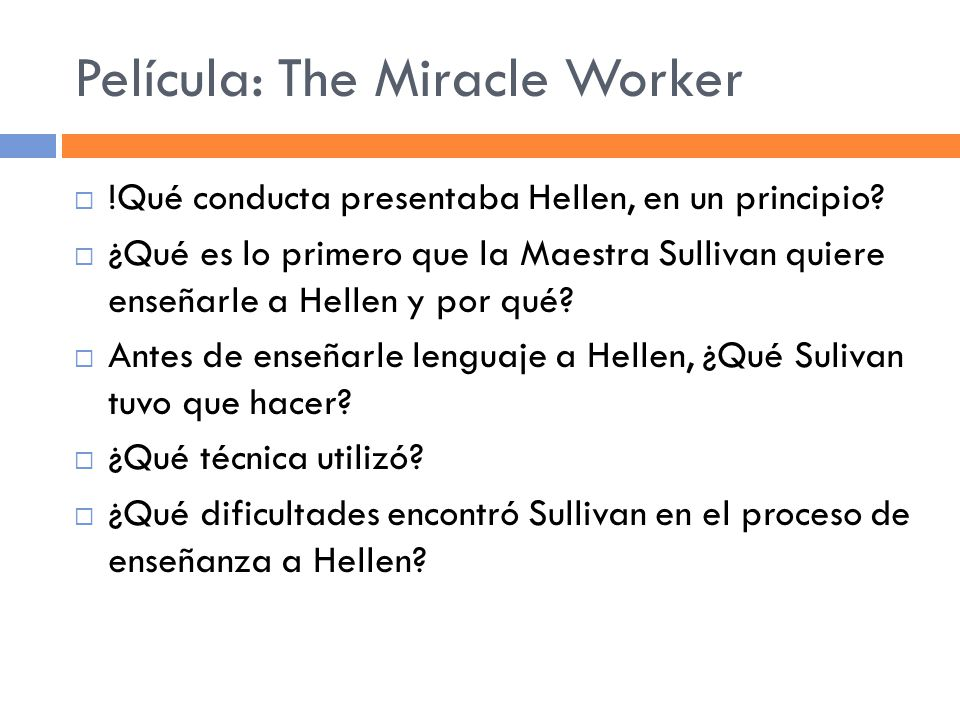 Película: The Miracle Worker