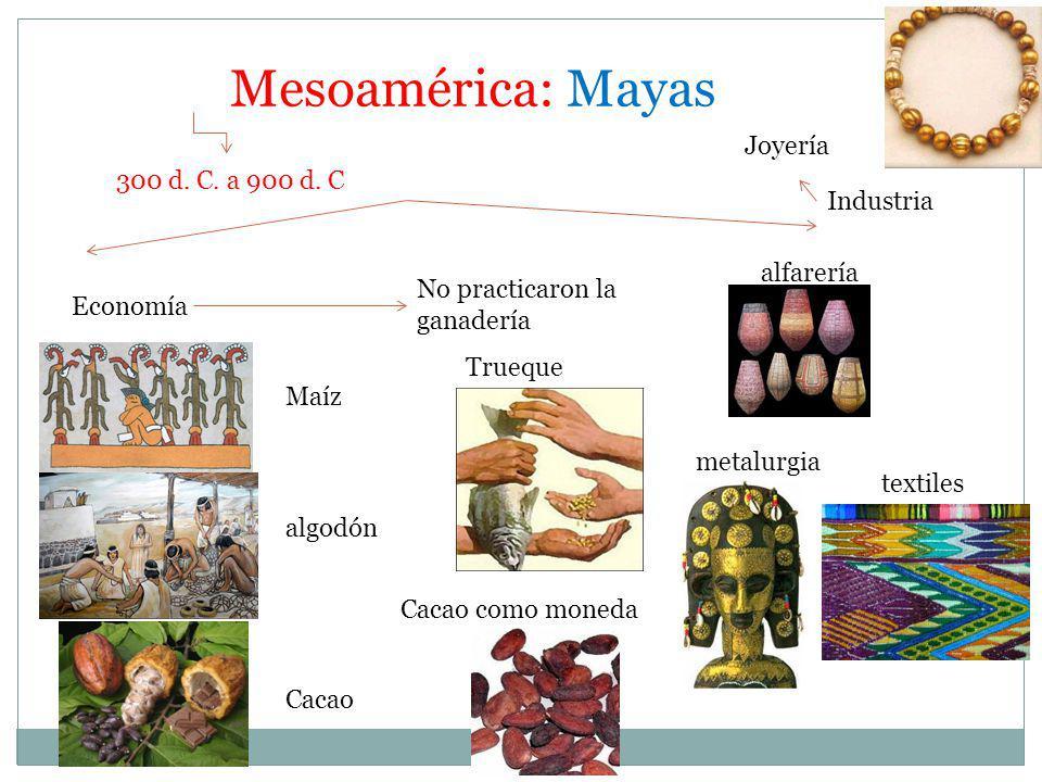 Mesoamérica: Mayas Joyería 300 d. C. a 900 d. C Industria alfarería