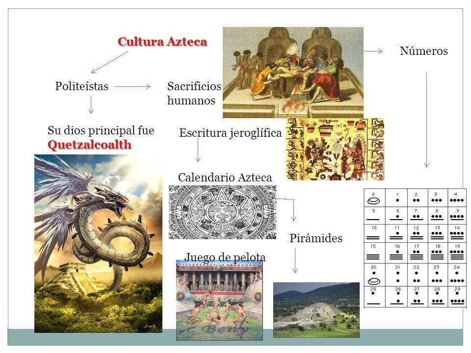 Cultura Azteca Números. Politeístas. Sacrificios humanos. Su dios principal fue Quetzalcoalth. Escritura jeroglífica.