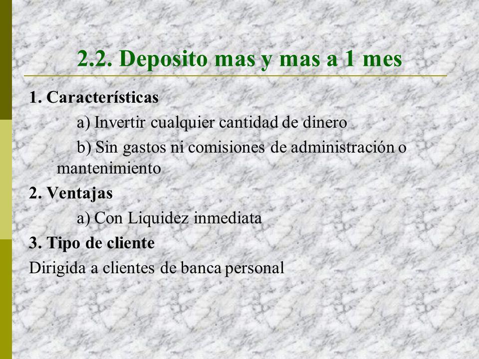 2.2. Deposito mas y mas a 1 mes 1. Características