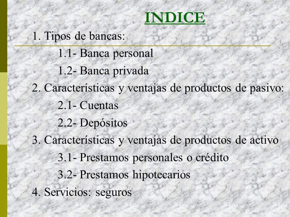 INDICE 1. Tipos de bancas: 1.1- Banca personal 1.2- Banca privada