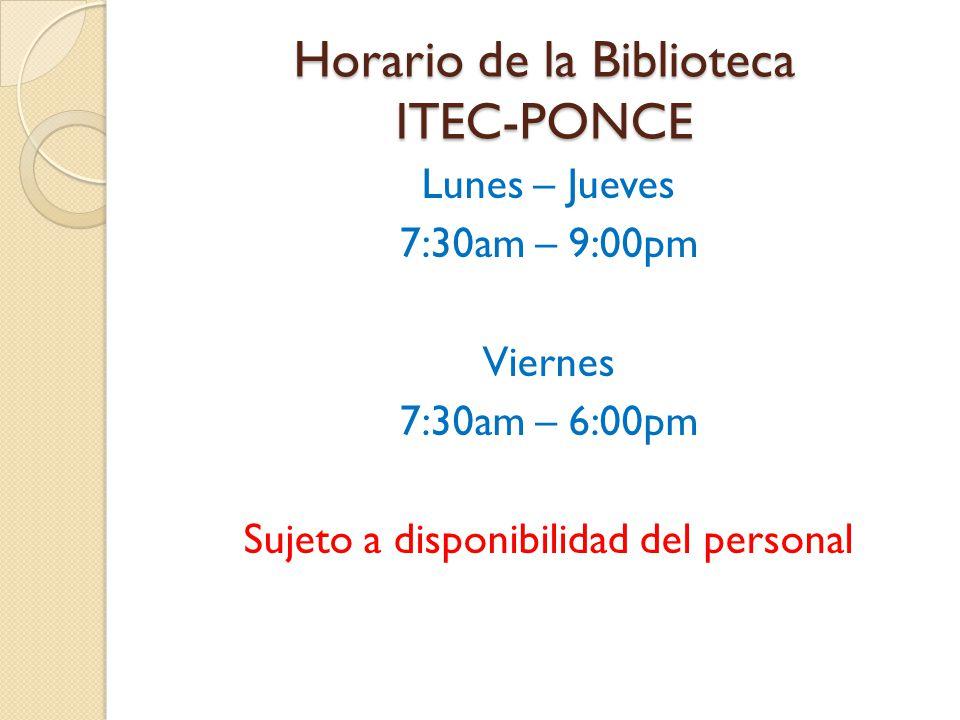 Horario de la Biblioteca ITEC-PONCE