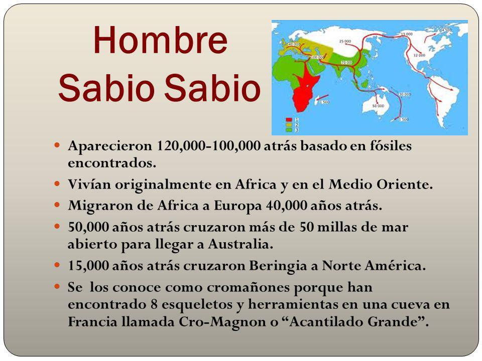 Hombre Sabio Sabio Aparecieron 120,000-100,000 atrás basado en fósiles encontrados. Vivían originalmente en Africa y en el Medio Oriente.