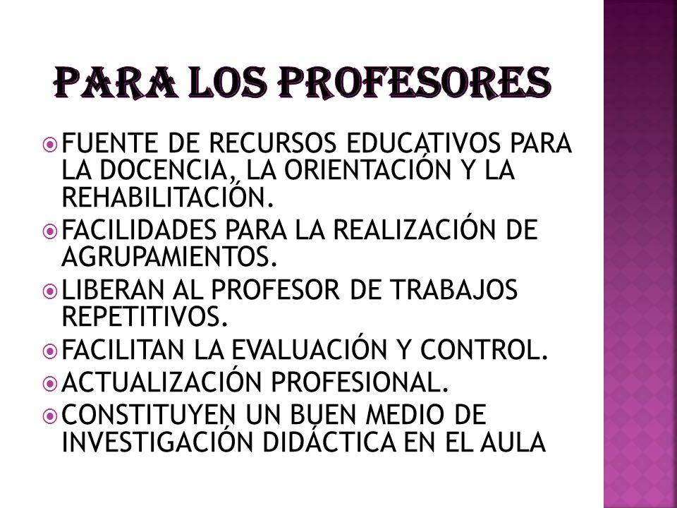 PARA LOS PROFESORES FUENTE DE RECURSOS EDUCATIVOS PARA LA DOCENCIA, LA ORIENTACIÓN Y LA REHABILITACIÓN.