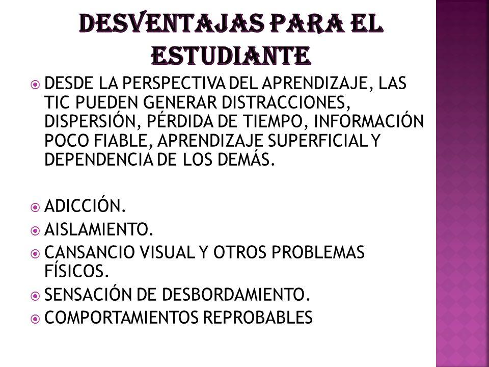 DESVENTAJAS PARA EL ESTUDIANTE