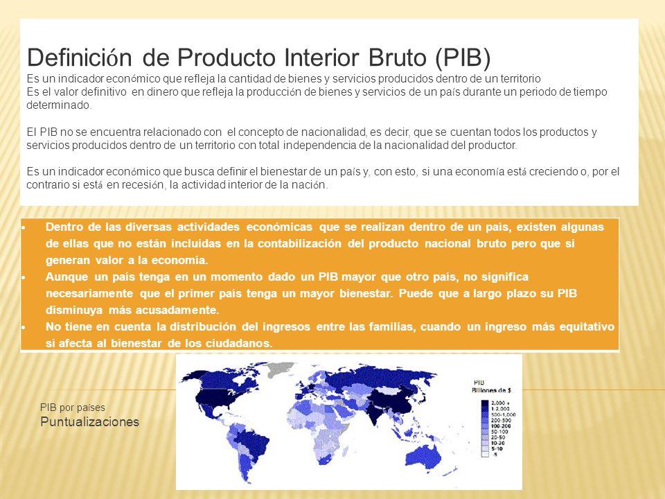 Definición de Producto Interior Bruto (PIB)