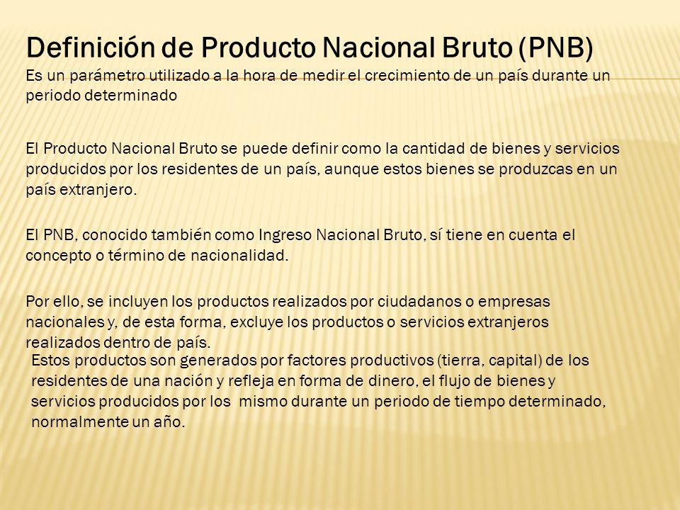Definición de Producto Nacional Bruto (PNB)