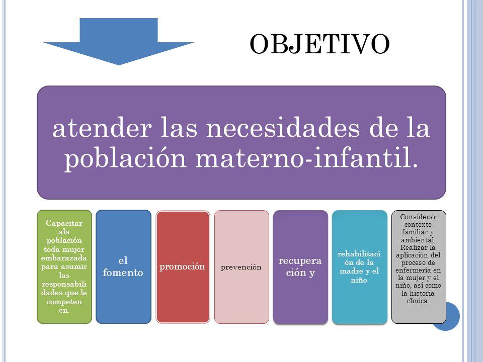 atender las necesidades de la población materno-infantil.