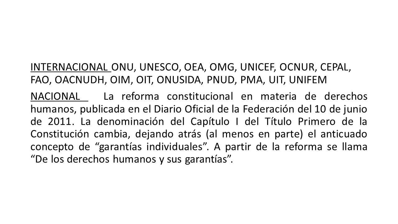 INTERNACIONAL ONU, UNESCO, OEA, OMG, UNICEF, OCNUR, CEPAL, FAO, OACNUDH, OIM, OIT, ONUSIDA, PNUD, PMA, UIT, UNIFEM