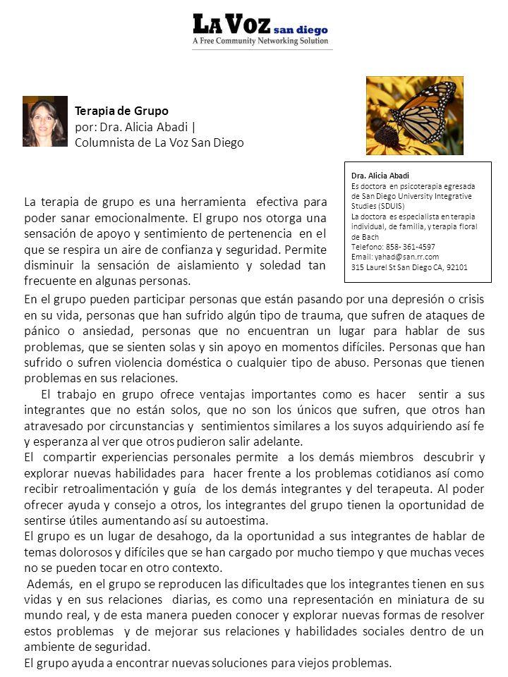 por: Dra. Alicia Abadi | Columnista de La Voz San Diego